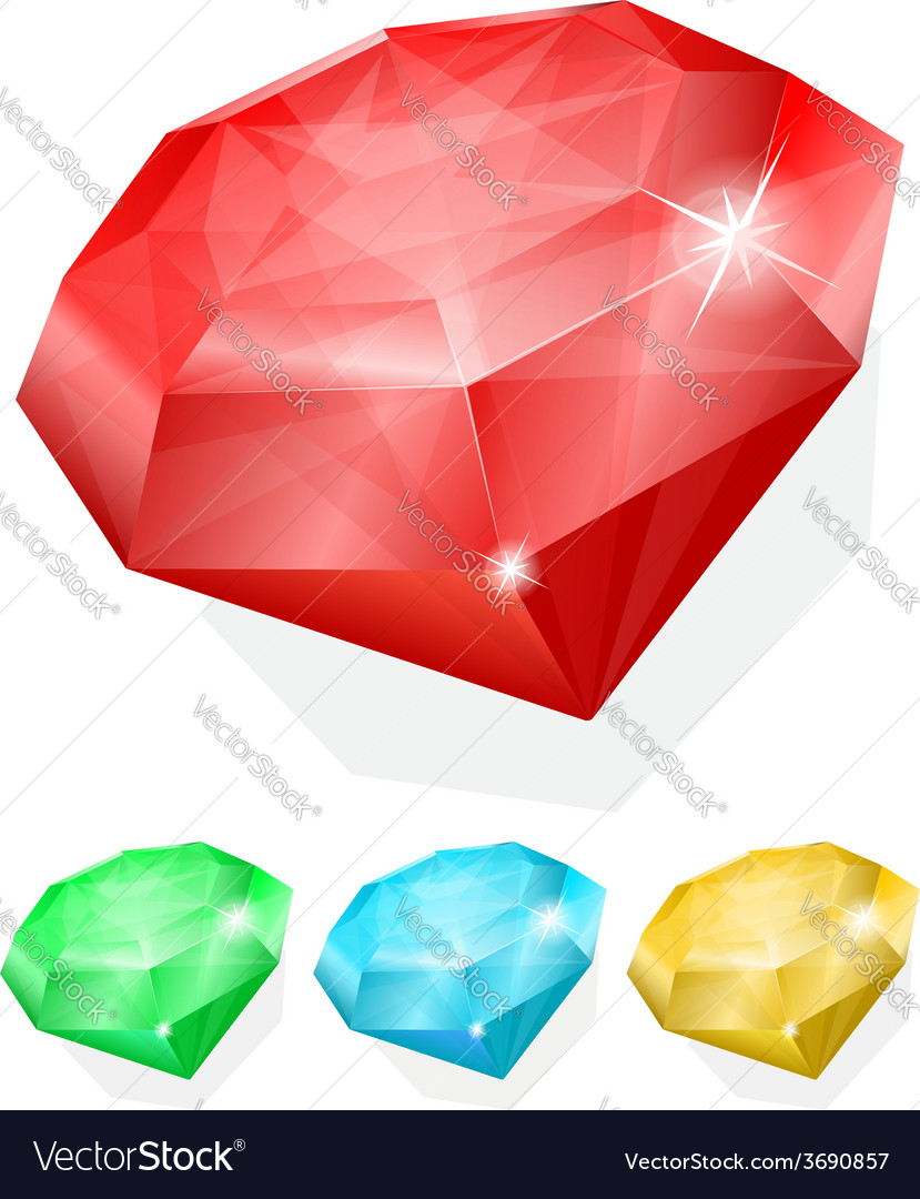 Set of gems in different color vector | Price: 1 Credit (USD $1)