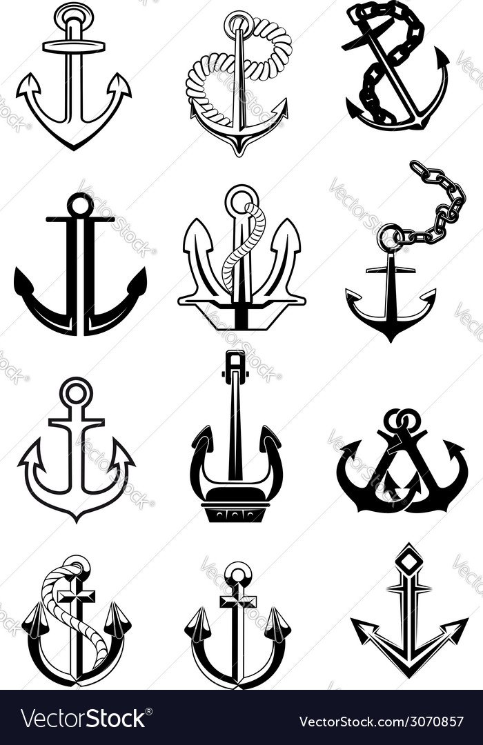 Ship anchors set vector | Price: 1 Credit (USD $1)