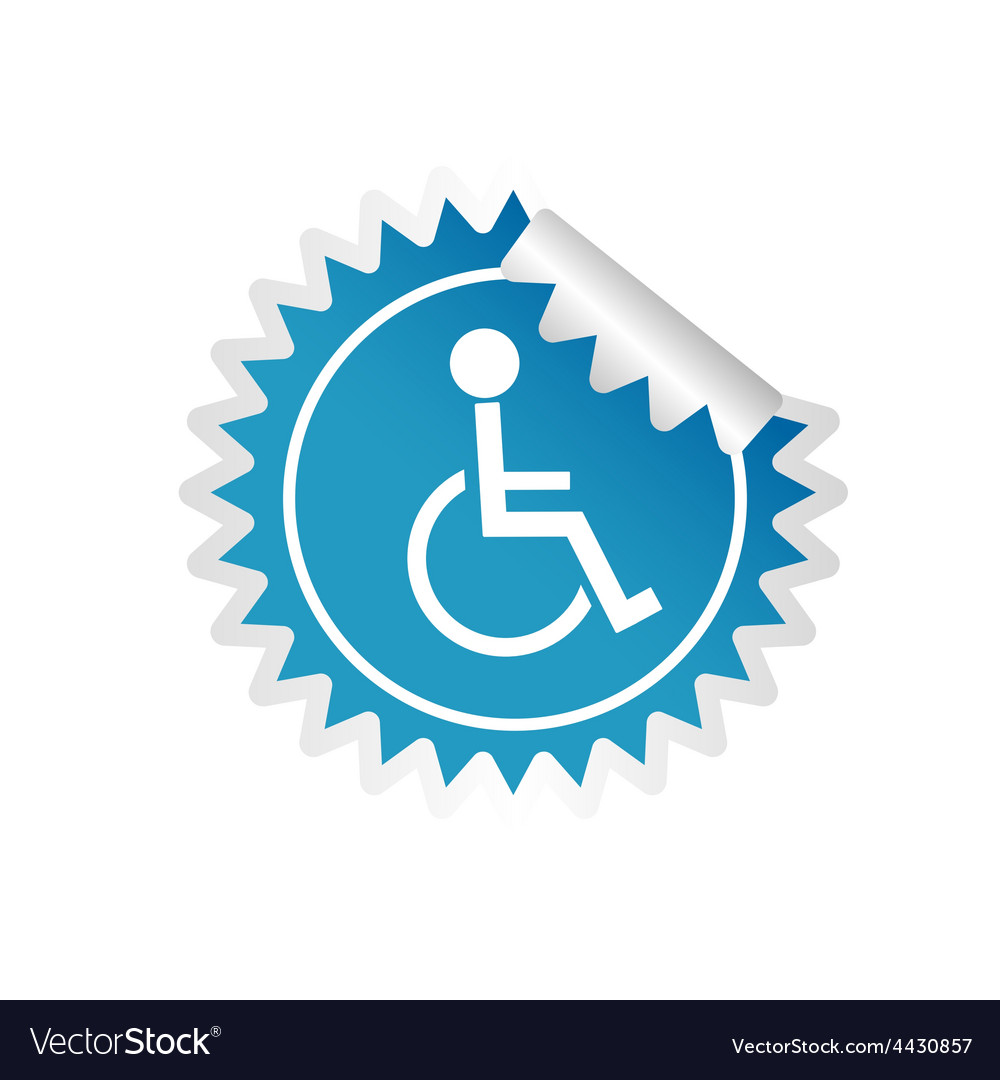 Sticker paralyzed man icon vector | Price: 1 Credit (USD $1)