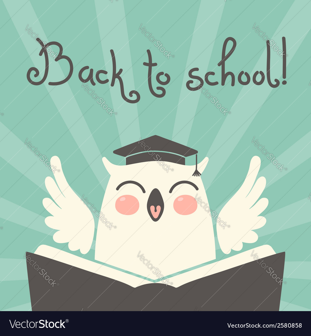 Back to school card with an owl vector | Price: 1 Credit (USD $1)