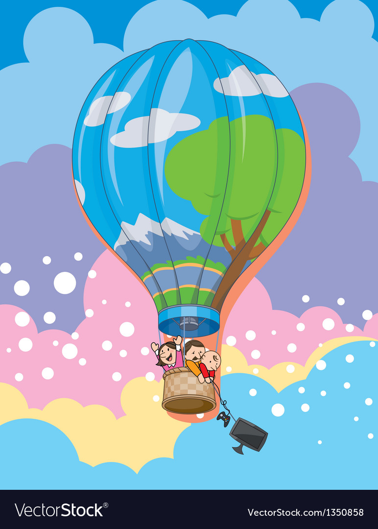 Family in balloon vector | Price: 3 Credit (USD $3)