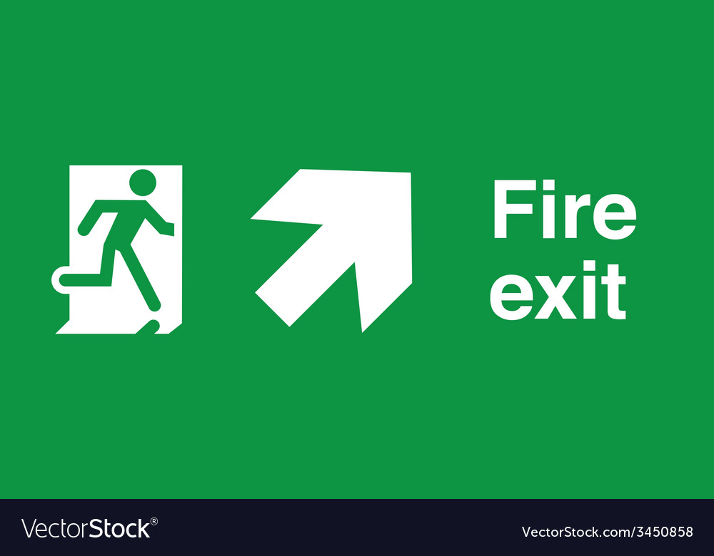 Fire exit safety sign vector | Price: 1 Credit (USD $1)