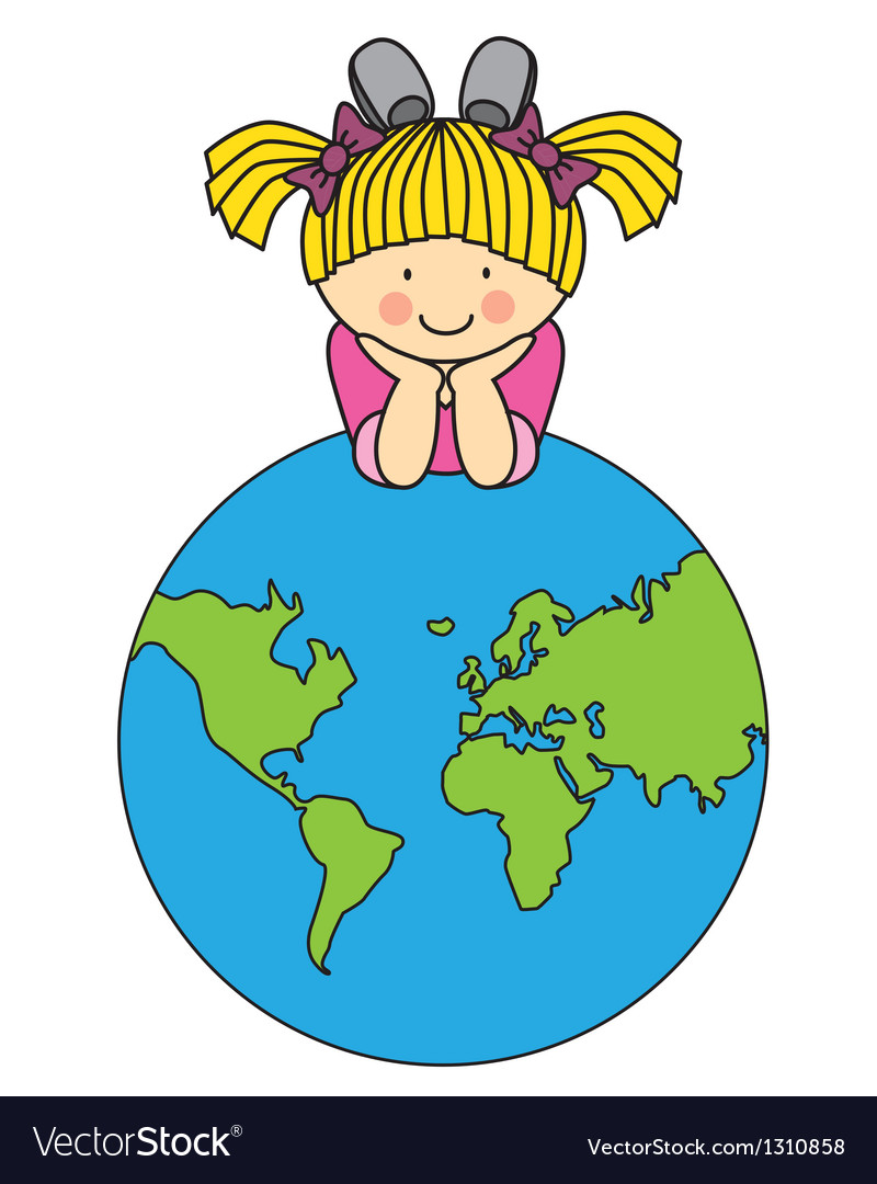 Girl with a globe vector | Price: 3 Credit (USD $3)
