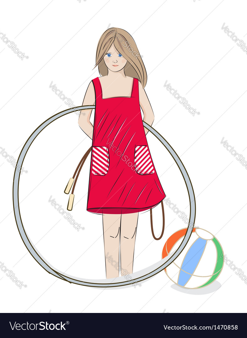 Girl with hula hoop beach ball and skipping rope vector | Price: 3 Credit (USD $3)