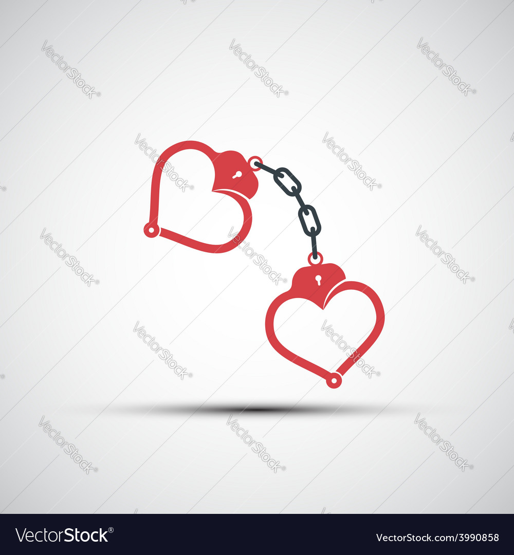 Icons of handcuffs in the form of heart vector | Price: 1 Credit (USD $1)