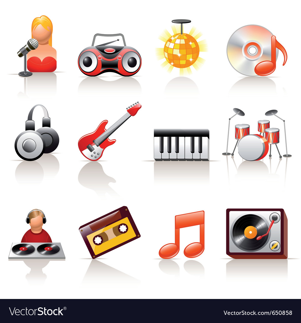 Music icon set vector | Price: 3 Credit (USD $3)
