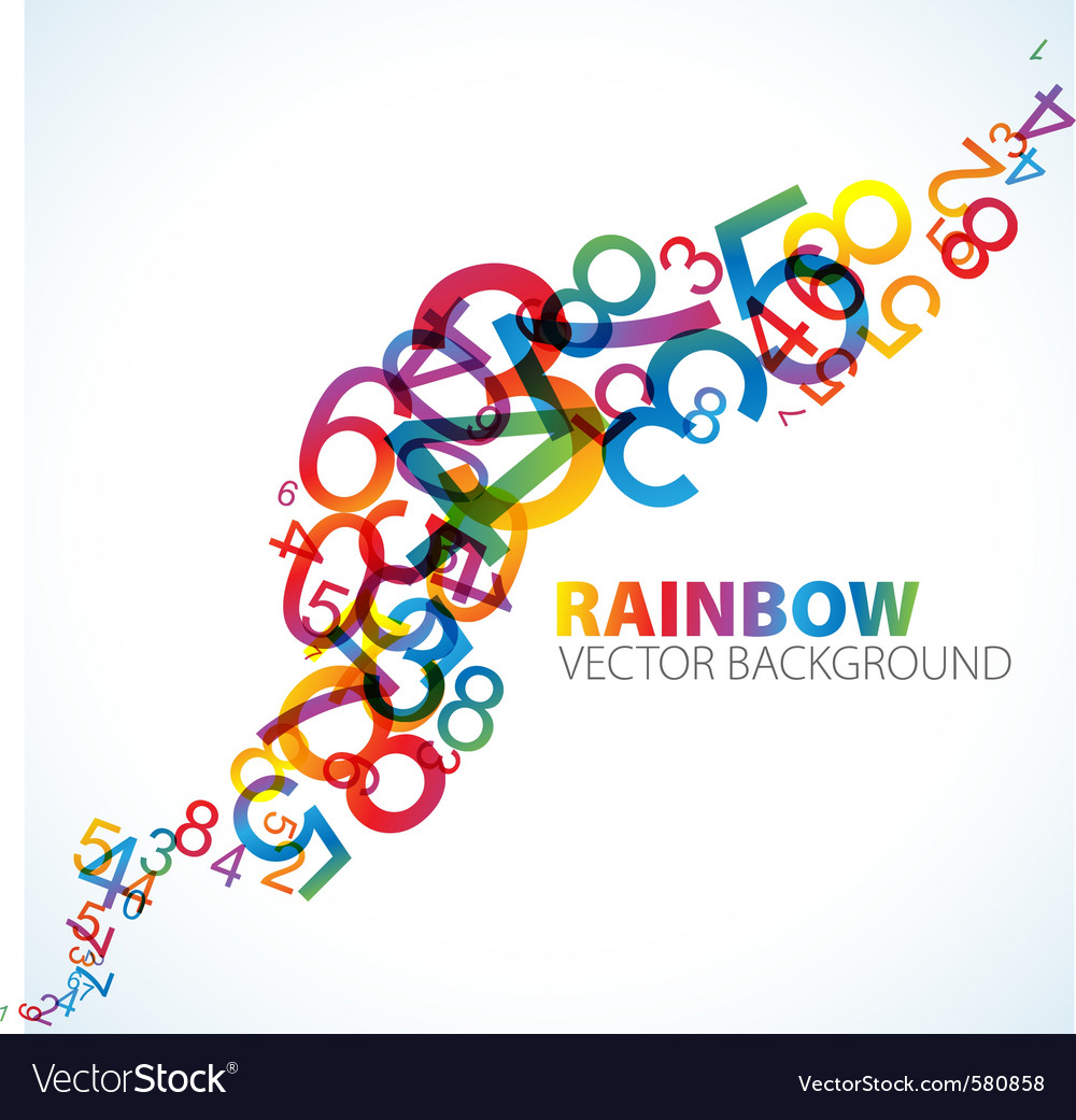 Rainbow numbers background vector | Price: 1 Credit (USD $1)