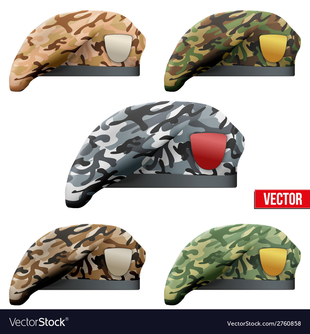 Set of military camo beret special forces vector | Price: 1 Credit (USD $1)