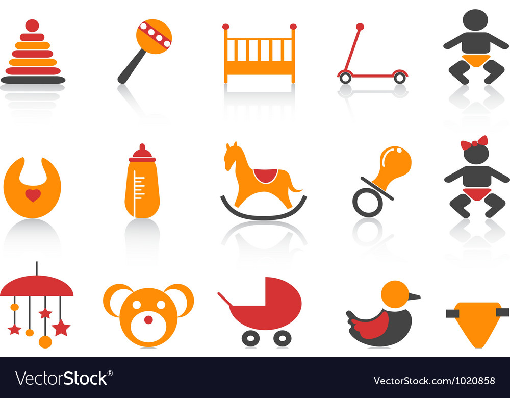 Simple baby icons set vector | Price: 1 Credit (USD $1)