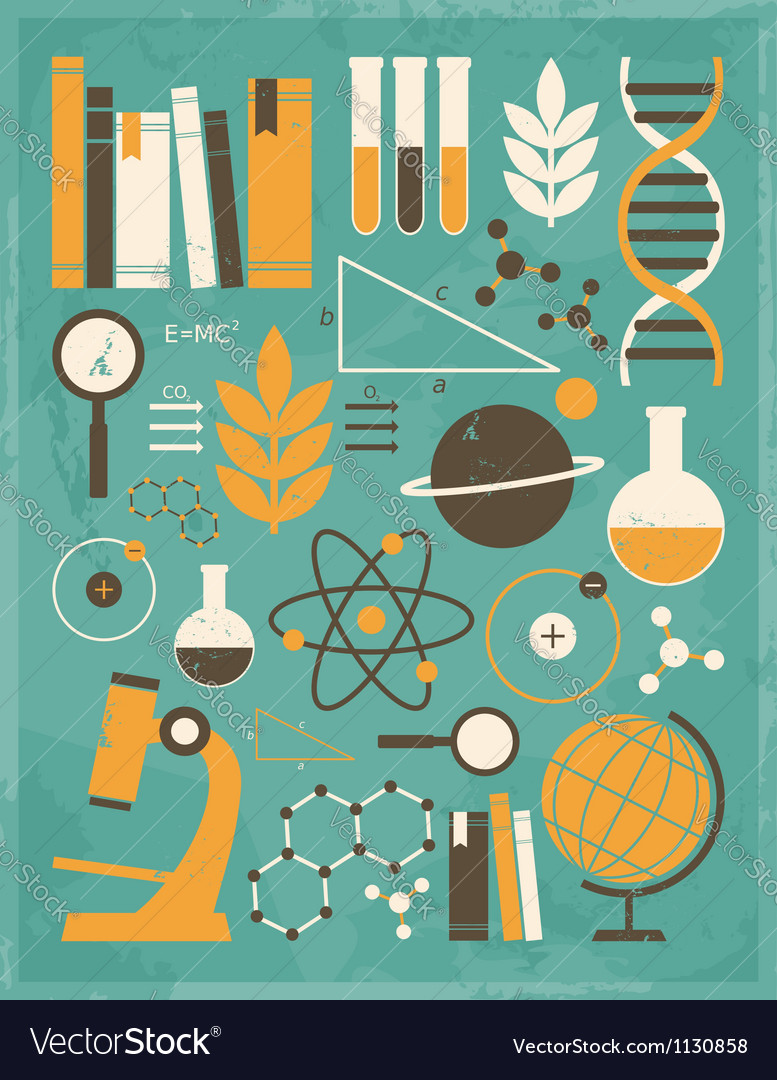 Vintage science icons 1 vector | Price: 1 Credit (USD $1)