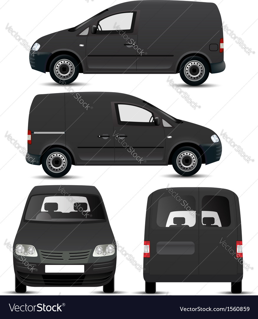 Black commercial vehicle mockup vector