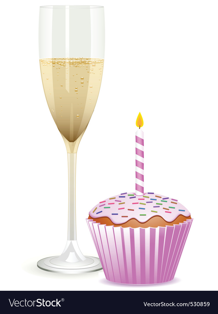 Champagne filled flute and a pink birthday cupcake vector | Price: 1 Credit (USD $1)
