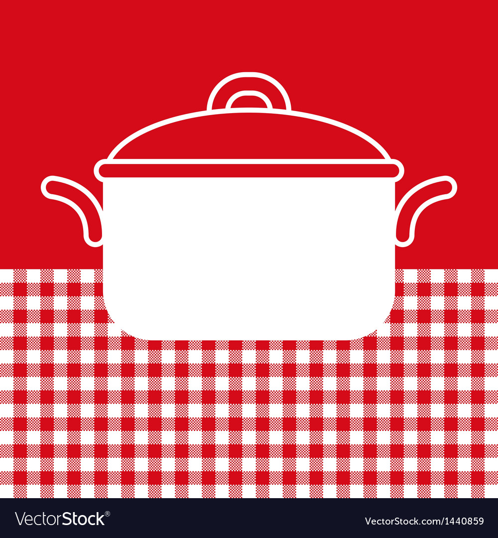 Cooking pot on red and white tablecloth background vector | Price: 1 Credit (USD $1)