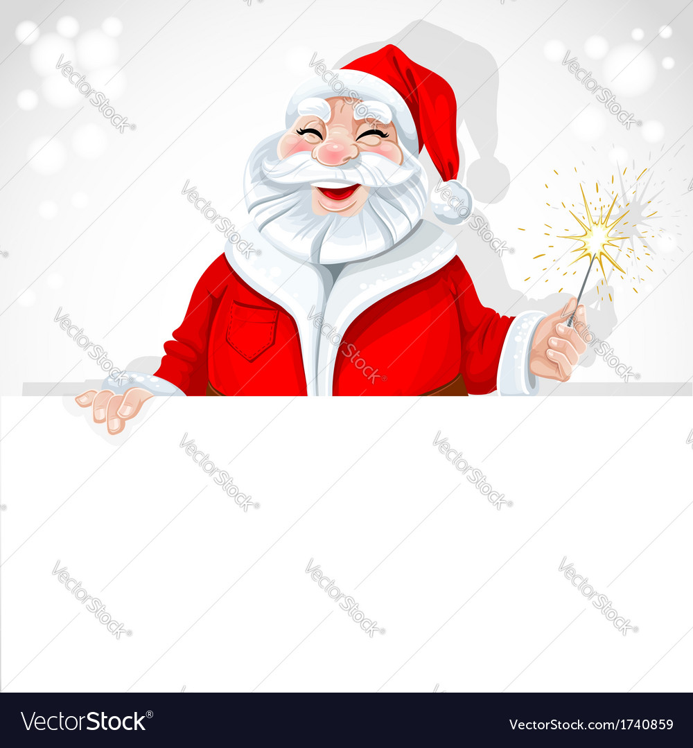 Cute santa claus holding large horizontal banner vector   Price: 1 Credit (USD $1)