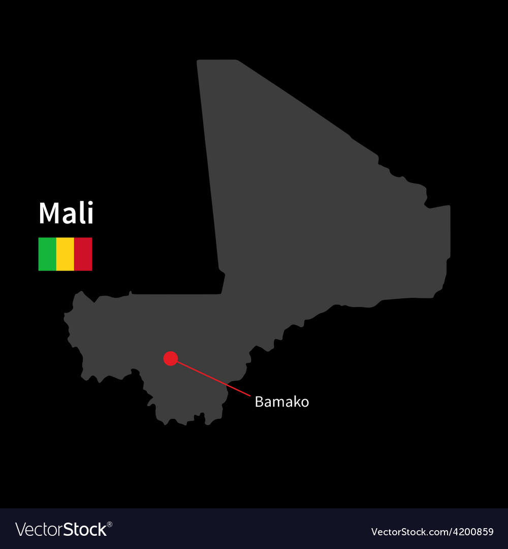 Detailed map of mali and capital city bamako with vector | Price: 1 Credit (USD $1)