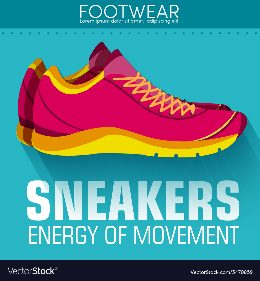 Flat sport sneakers background concept desi vector | Price: 1 Credit (USD $1)