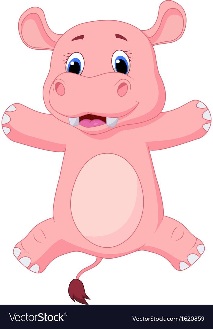 Happy baby hippo cartoon vector | Price: 1 Credit (USD $1)