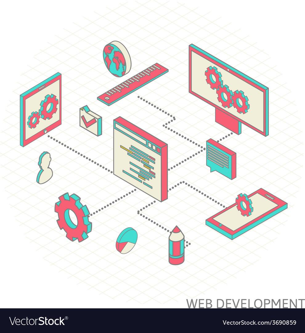 Isometric of website analytics vector | Price: 1 Credit (USD $1)
