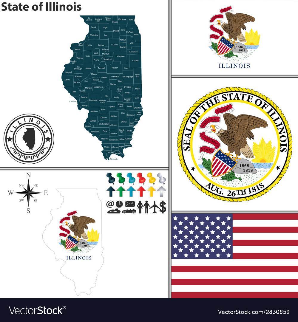 Map of illinois with seal vector | Price: 1 Credit (USD $1)