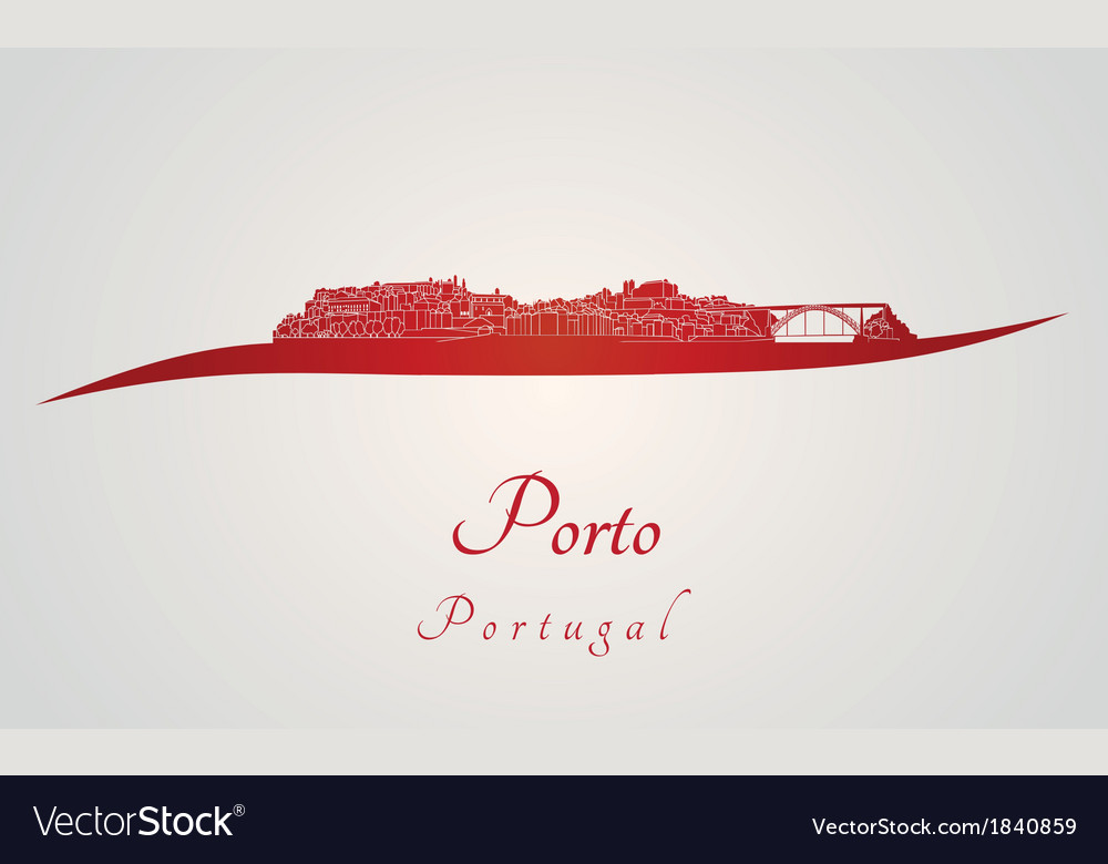 Porto skyline in red vector | Price: 1 Credit (USD $1)