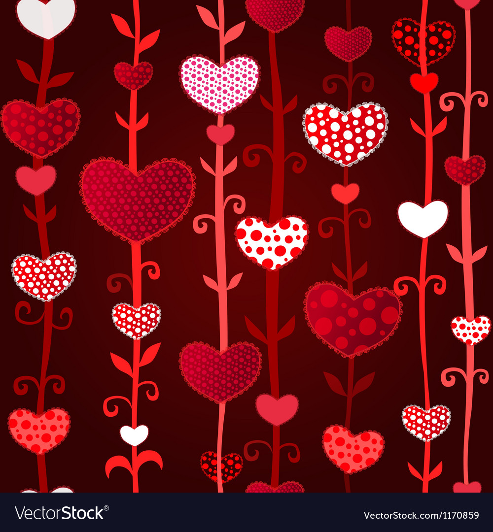 Red dark love valentins day seamless pattern vector | Price: 1 Credit (USD $1)