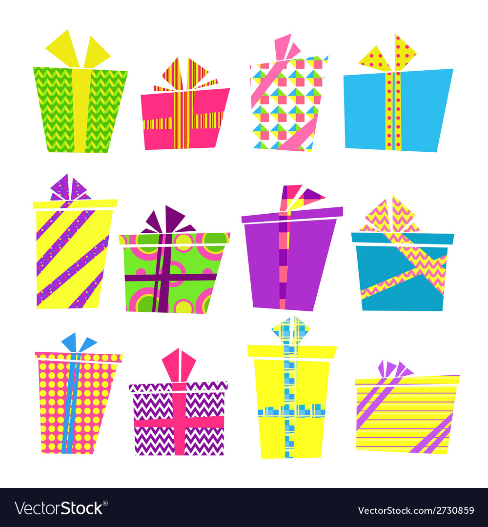 Set of colorful cartoon style present boxes with vector | Price: 1 Credit (USD $1)