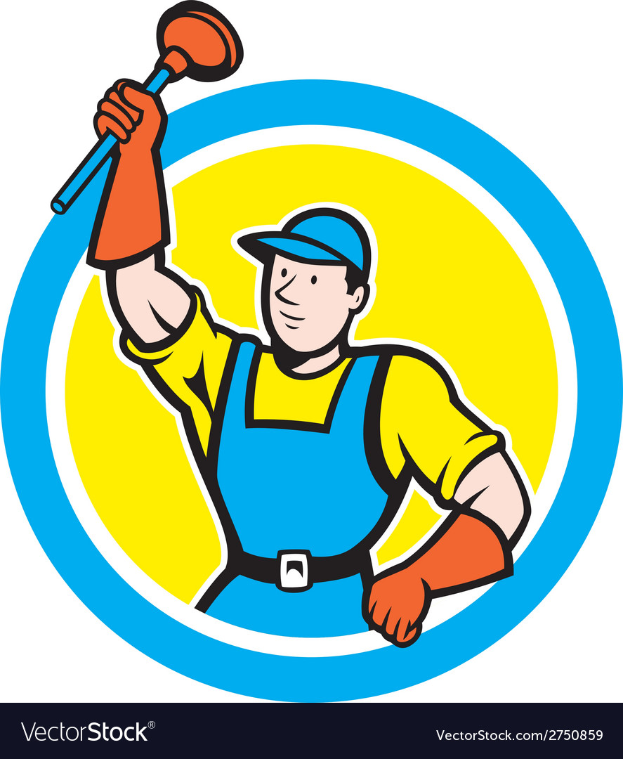 Super plumber with plunger circle cartoon vector | Price: 1 Credit (USD $1)
