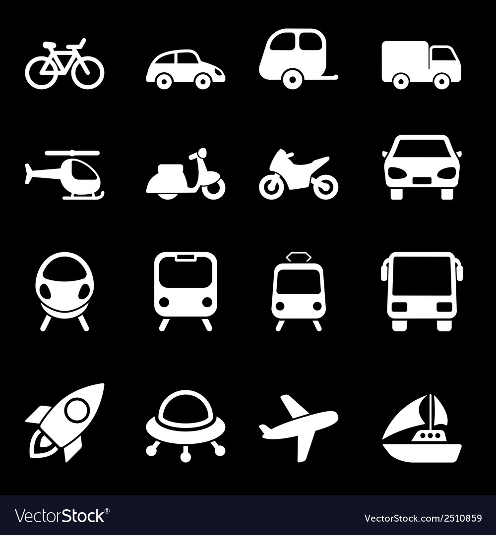 White transport icons vector | Price: 1 Credit (USD $1)