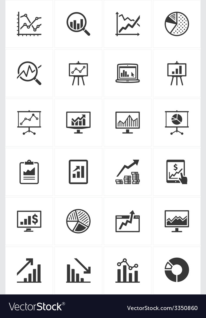 Business graphs and charts icons vector | Price: 1 Credit (USD $1)