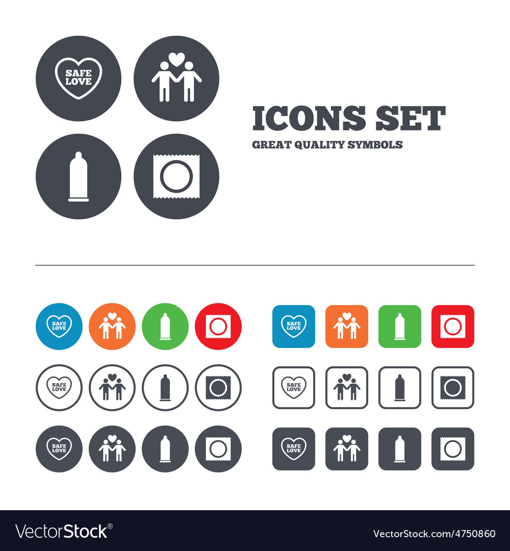 Condom safe sex icons lovers gay couple sign vector | Price: 1 Credit (USD $1)