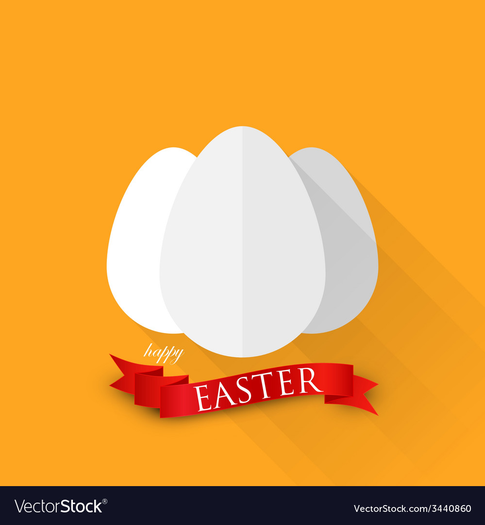 Easter with eggs and red ribbon happy easter vector | Price: 1 Credit (USD $1)