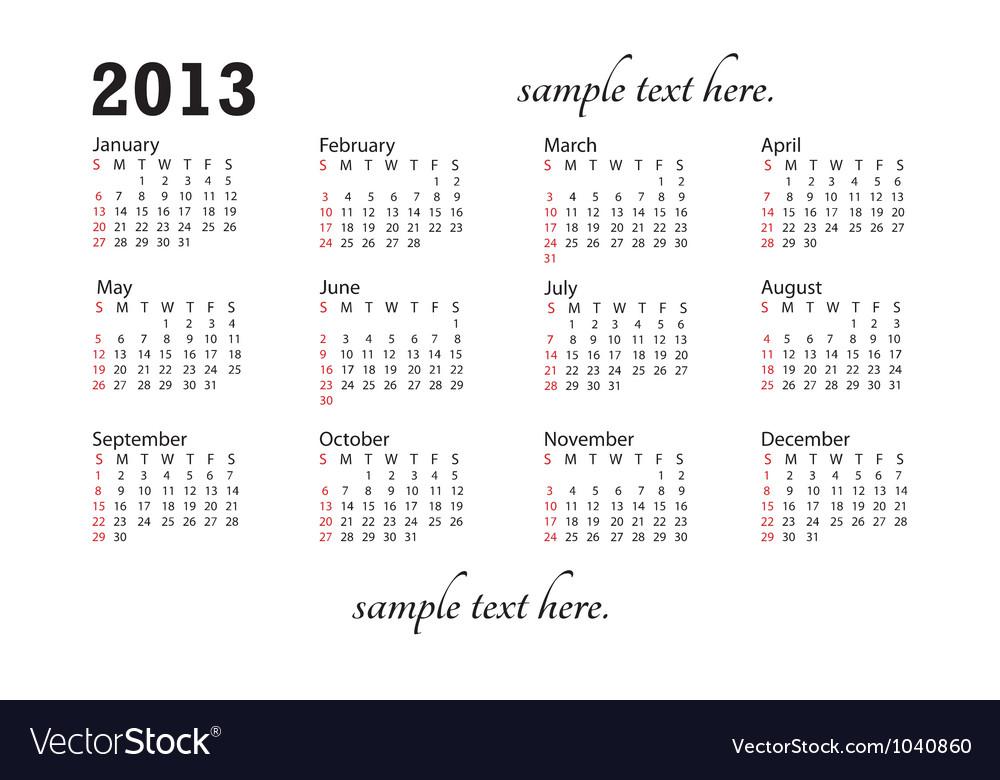 Generic 2013 calendar landscape vector | Price: 1 Credit (USD $1)