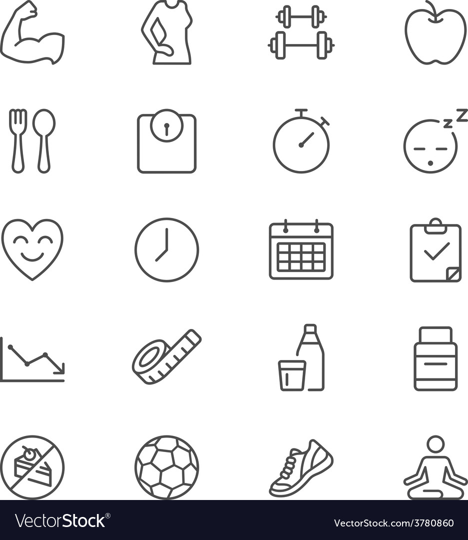 Healthcare thin icons vector | Price: 1 Credit (USD $1)