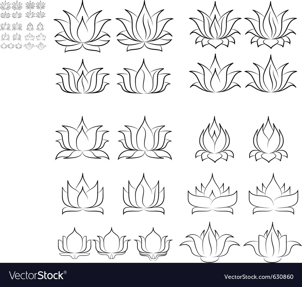 Lotus set 2 vector | Price: 1 Credit (USD $1)