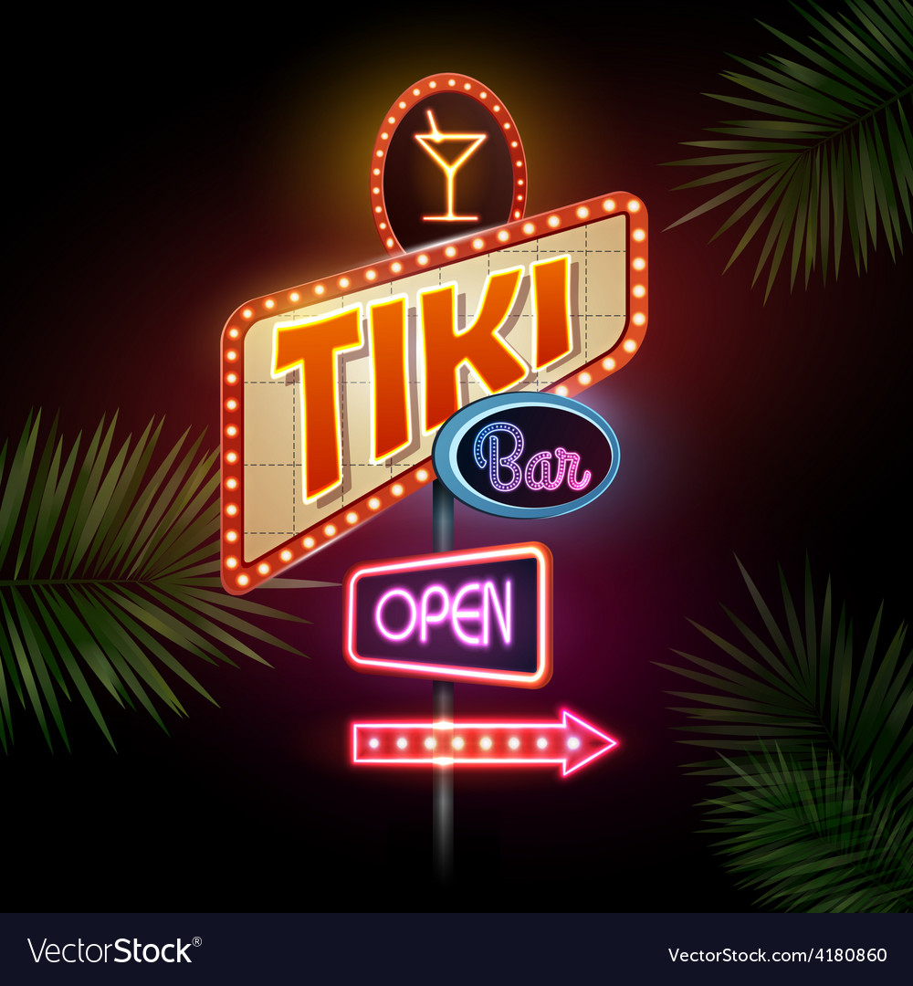 Neon sign tiki bar vector | Price: 1 Credit (USD $1)