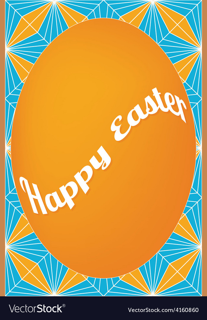 Orange egg easter card on dagger pattern vector   Price: 1 Credit (USD $1)