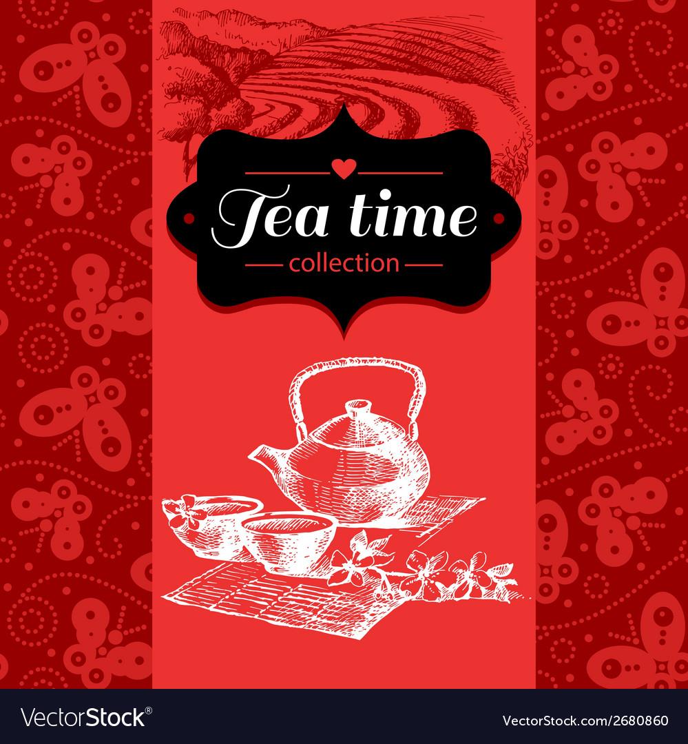 Tea vintage background hand drawn sketch vector | Price: 1 Credit (USD $1)