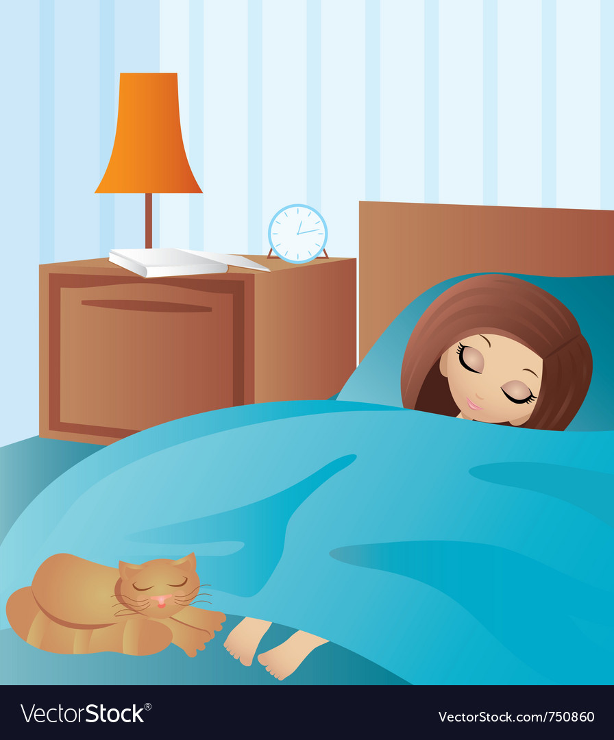Woman cartoon sleeps vector | Price: 3 Credit (USD $3)