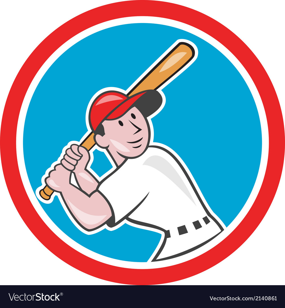Baseball player batting looking up circle cartoon vector | Price: 1 Credit (USD $1)
