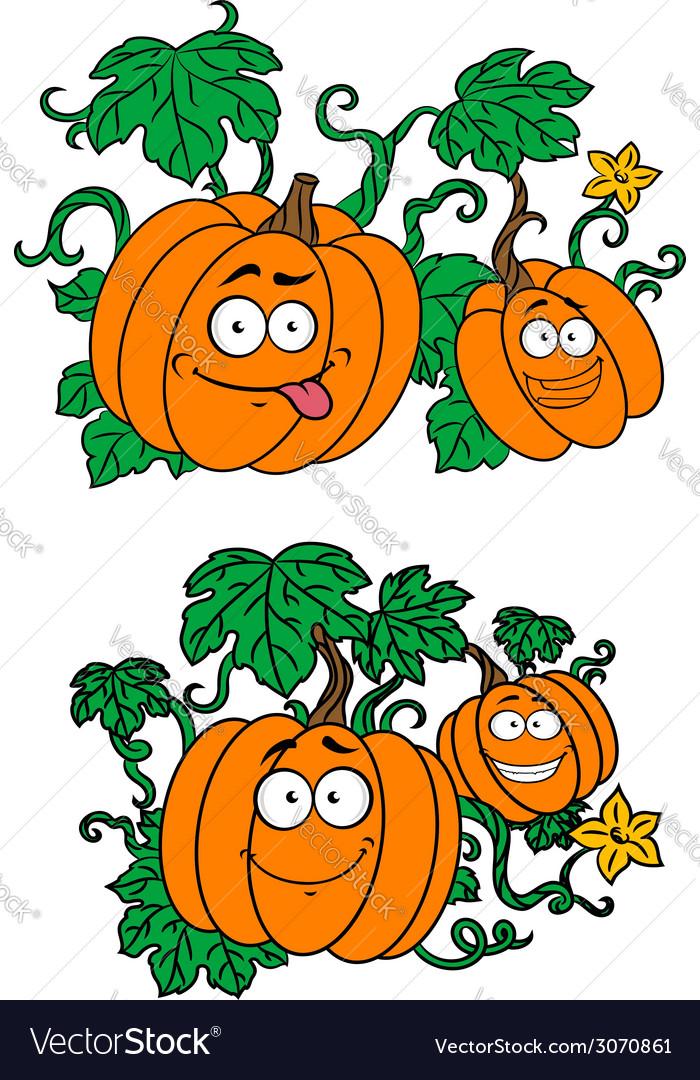 Cartoon pumpkins growing on vines vector | Price: 1 Credit (USD $1)
