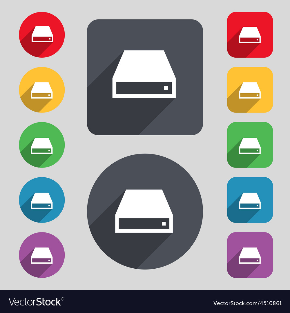 Cd-rom icon sign a set of 12 colored buttons and a vector | Price: 1 Credit (USD $1)