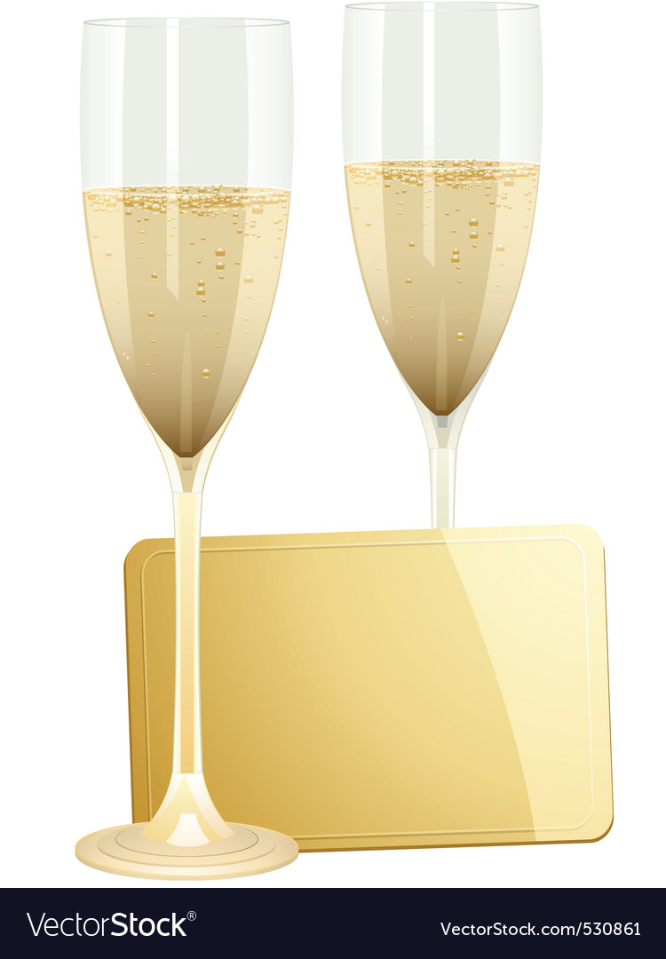 Champagne flutes and gold gift tag on a white back vector | Price: 1 Credit (USD $1)