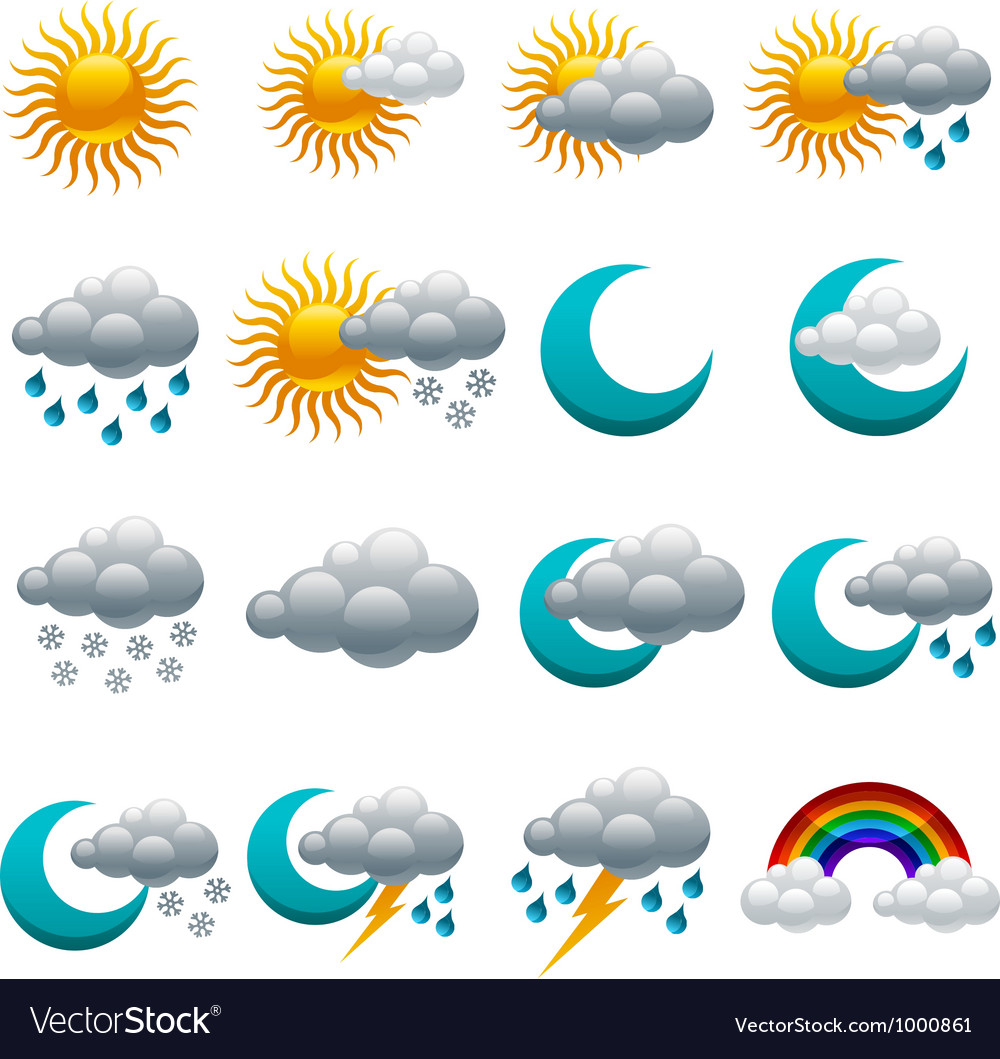 Colorful glossy weather icons vector | Price: 1 Credit (USD $1)