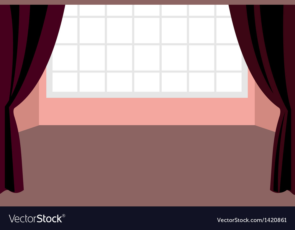Curtain window interior vector | Price: 1 Credit (USD $1)
