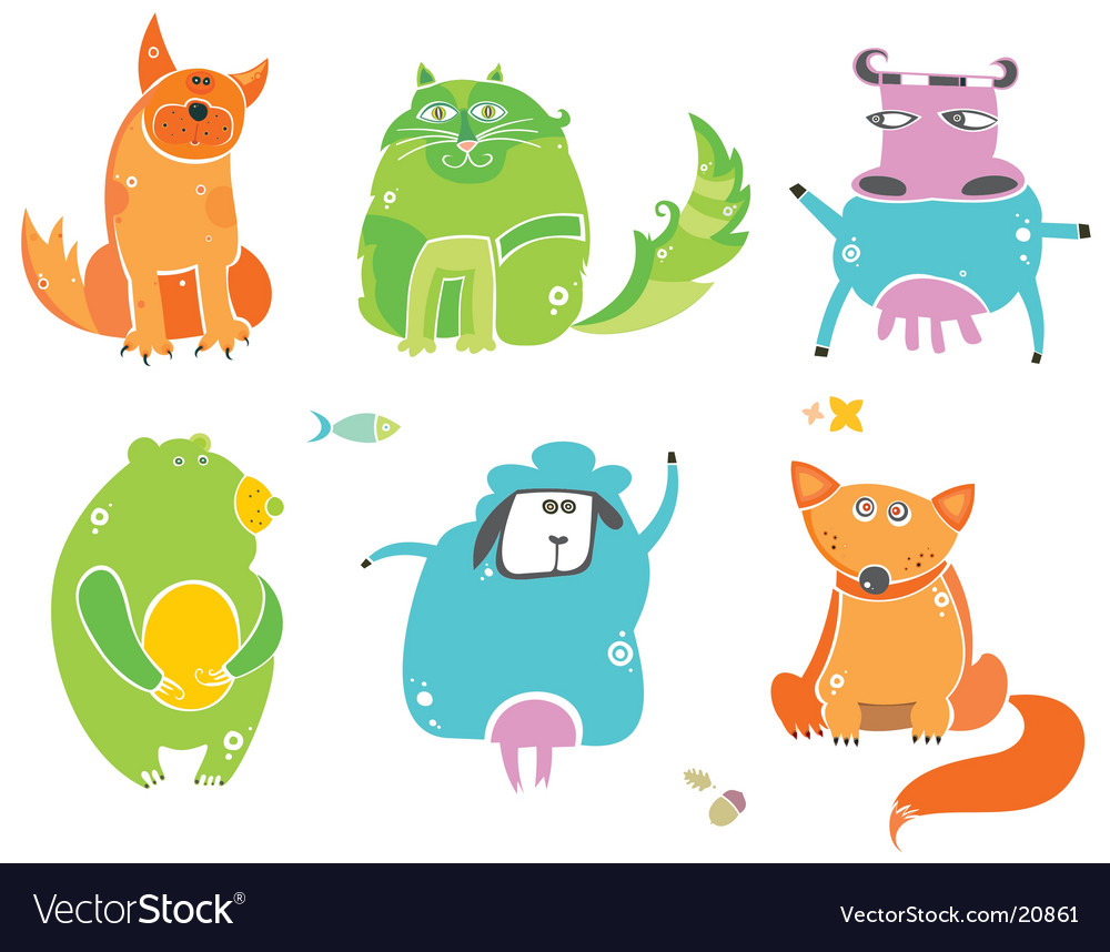 Cute animals set vector | Price: 3 Credit (USD $3)