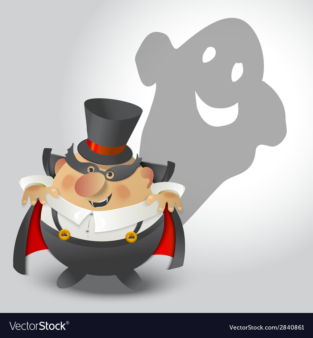 Cute halloween count dracula with ghost vector | Price: 1 Credit (USD $1)