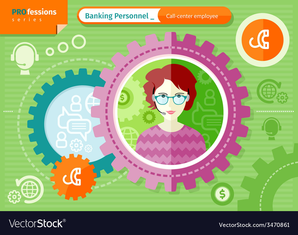 Female call-center employee profession concept vector | Price: 1 Credit (USD $1)