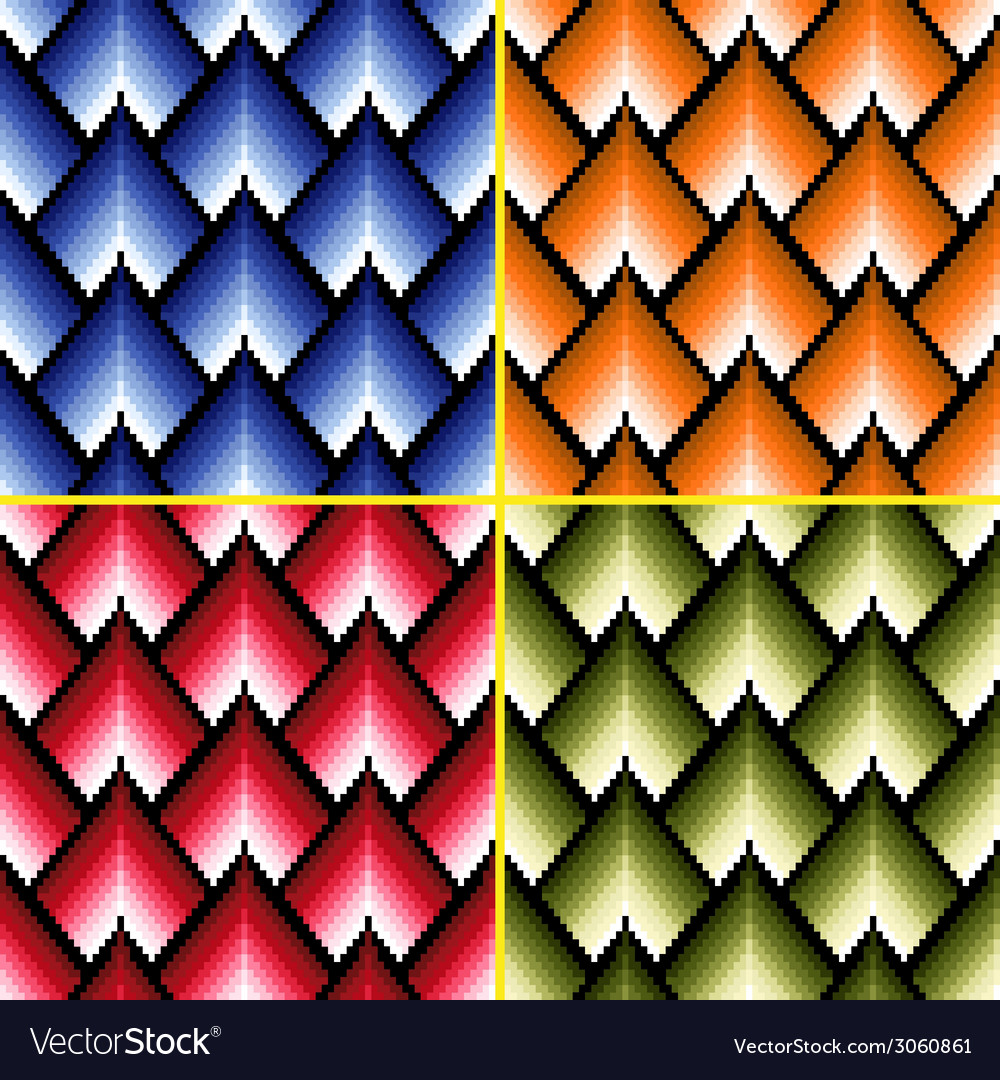 Four seamless patterns with different colors vector | Price: 1 Credit (USD $1)
