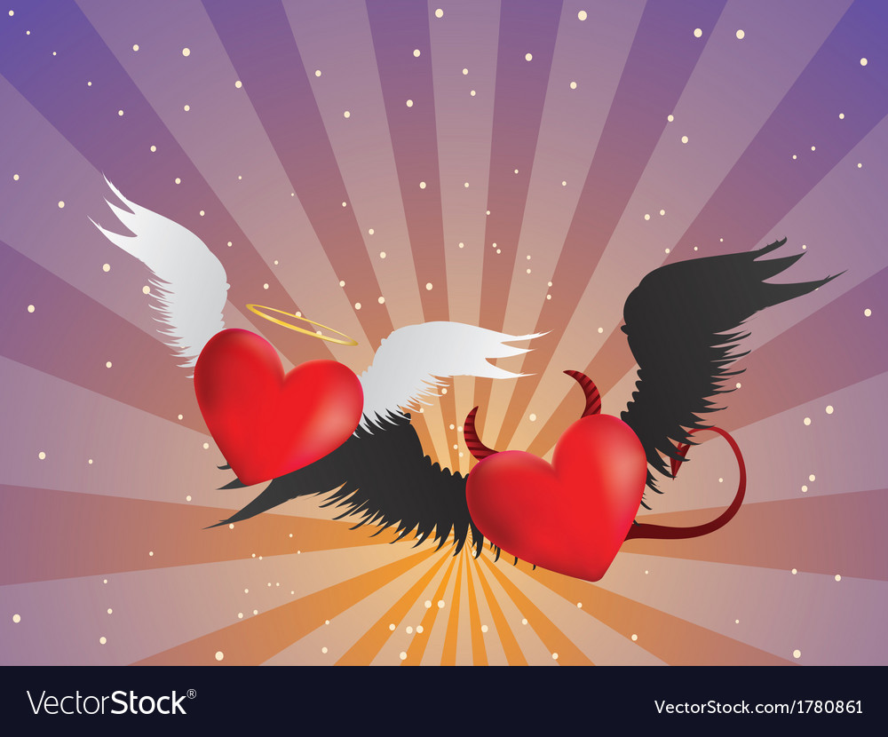 Good and evil hearts background vector | Price: 1 Credit (USD $1)