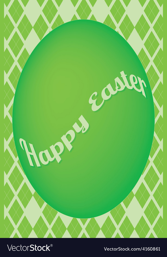Green easter egg card on green diamond pattern vector | Price: 1 Credit (USD $1)